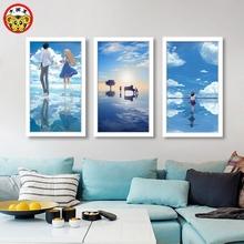 数字油彩画diy手绘风景人物蓝色天空大海客厅卧室三联填色装饰画