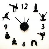 创意钟表客厅挂钟 静音石英钟 个性瑜伽DIY挂钟 装饰时尚壁钟墙贴