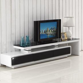 现代简约伸缩电视柜地柜钢化玻璃烤漆小户型电视机柜茶几组合套装
