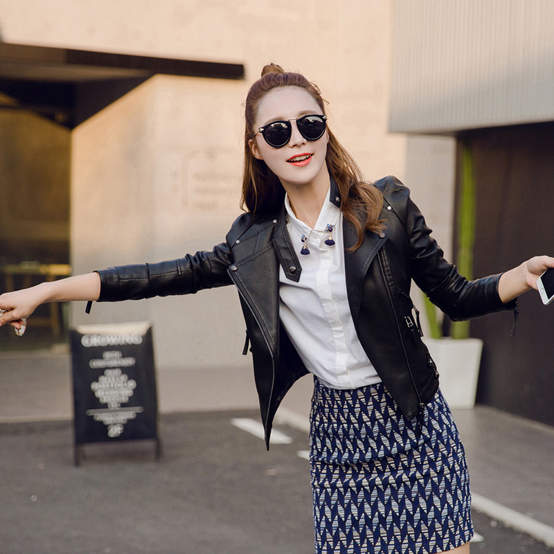 2018 new leather women spring and autumn locomotive jacket Korean version was thin leather jacket short paragraph