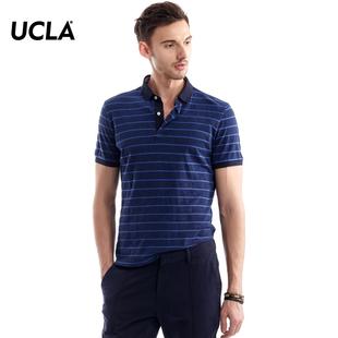 T恤衫 商务休闲撞色条纹珠地针织翻领短袖 polo夏季新款 UCLA短袖