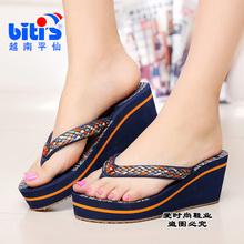 包邮新款正品越南鞋平仙鞋女人字拖鞋高跟沙滩休闲中国风防滑舒适