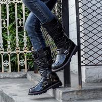 舞台韩版18厚底火焰图腾个性时尚靴潮男风男靴子高筒男士牛仔靴