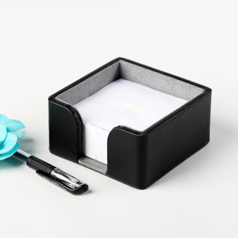 品地高档皮质创意办公用品文具 桌面便签纸便签盒座 个性定制商务