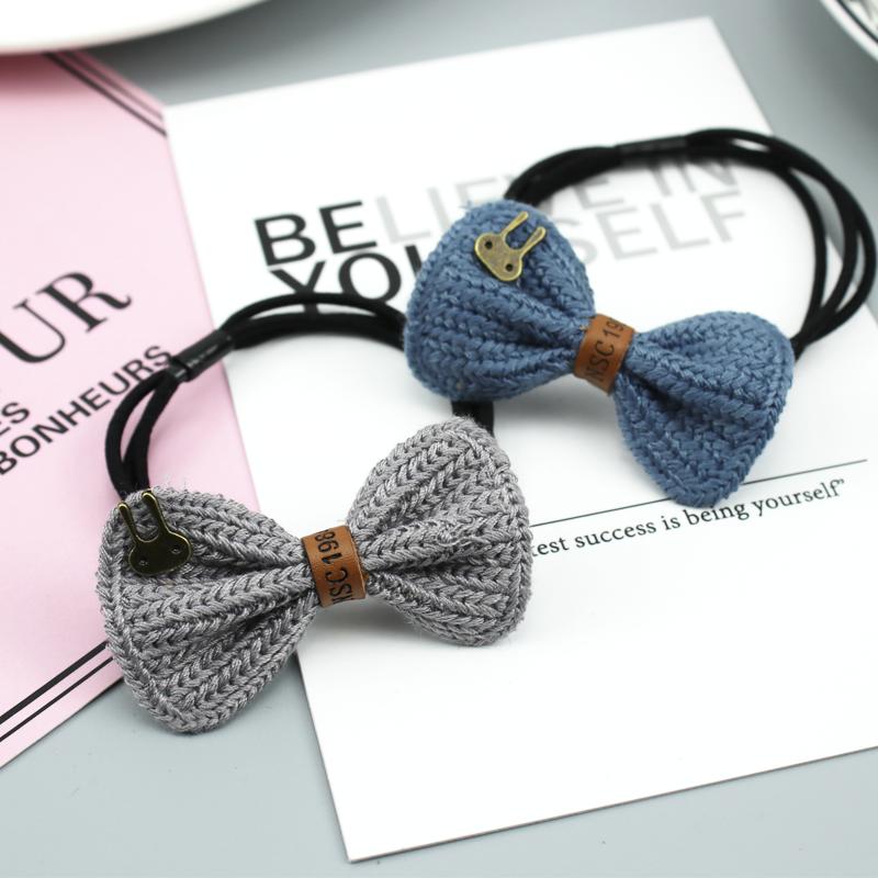 韩国毛线针织蝴蝶结发圈可爱兔.