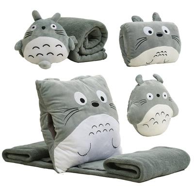 龙猫靠垫被插手睡觉暖手抱枕空调毯子三合一抱枕被子两用午睡礼品