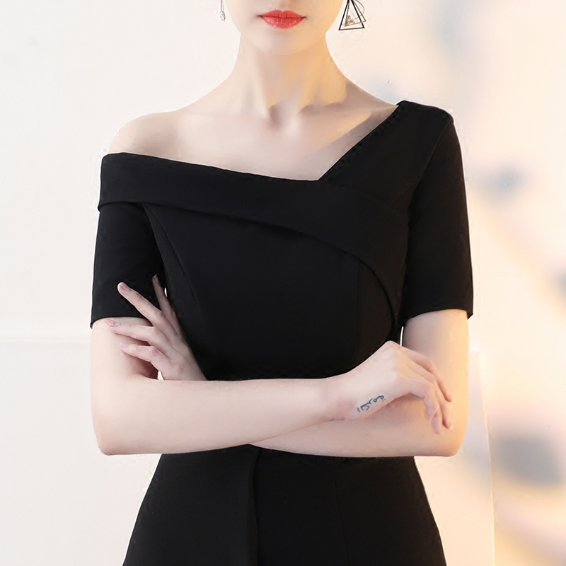 法式晚礼服裙女2019新款优雅宴会晚宴派对连衣裙黑色短款显瘦名媛