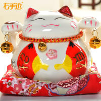 Lucky cat ornaments Opening creative gifts Small ceramic piggy bank piggy bank Lucky cat car decoration