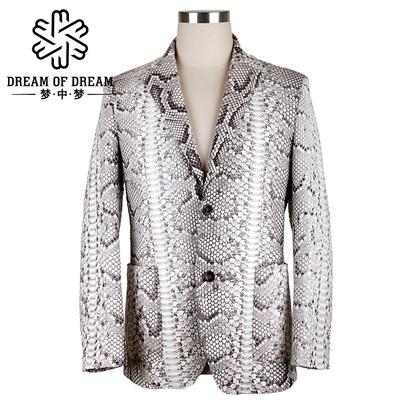 梦中梦男士蟒蛇皮外套真皮西服定制款皮衣休闲上衣男西装