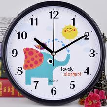 包邮静音时尚卡通挂钟儿童卧室客厅创意挂表简约壁钟田园石英钟表
