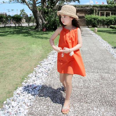 女童沙滩裙宝宝长裙新款纯棉儿童海边度假连衣裙中大童韩版吊带裙