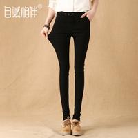 黑色裤子女加长打底裤女外穿2018新款韩版高腰紧身显瘦铅笔小脚裤