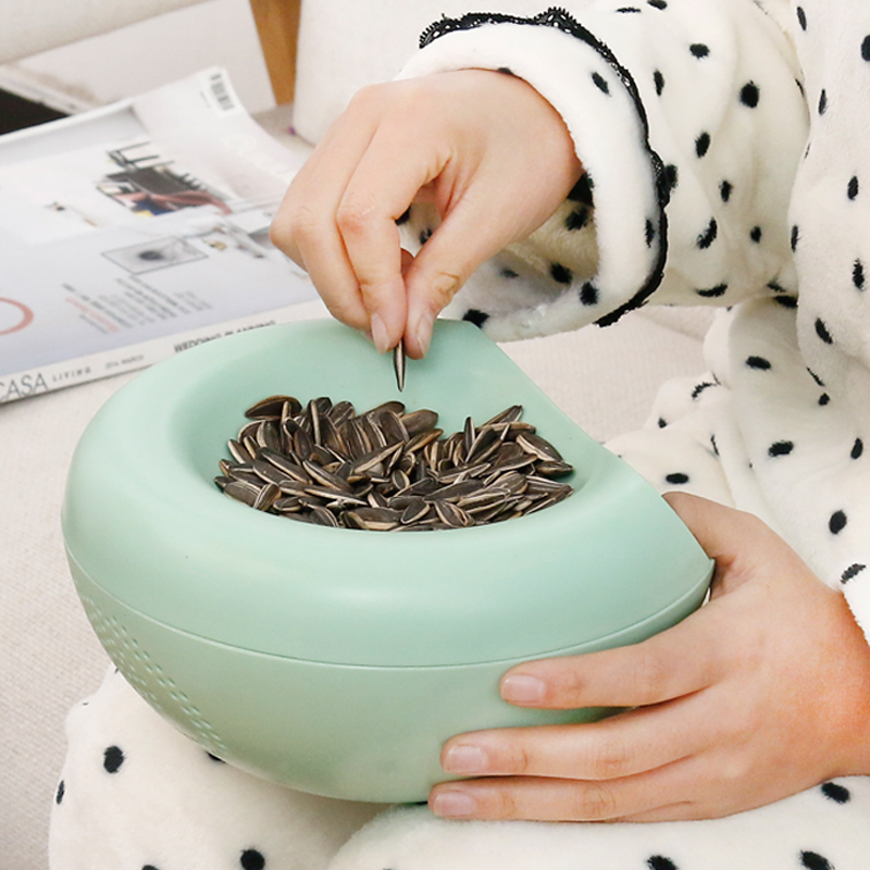 缔家乐双层果盘创意瓜子收纳盒塑料零食水果盘懒人瓜子盒糖果盘盒1元优惠券