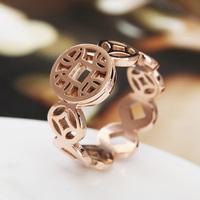 欧美时尚 招财铜钱镂空指环戒指潮女 钛钢电镀玫瑰金彩金食指指环
