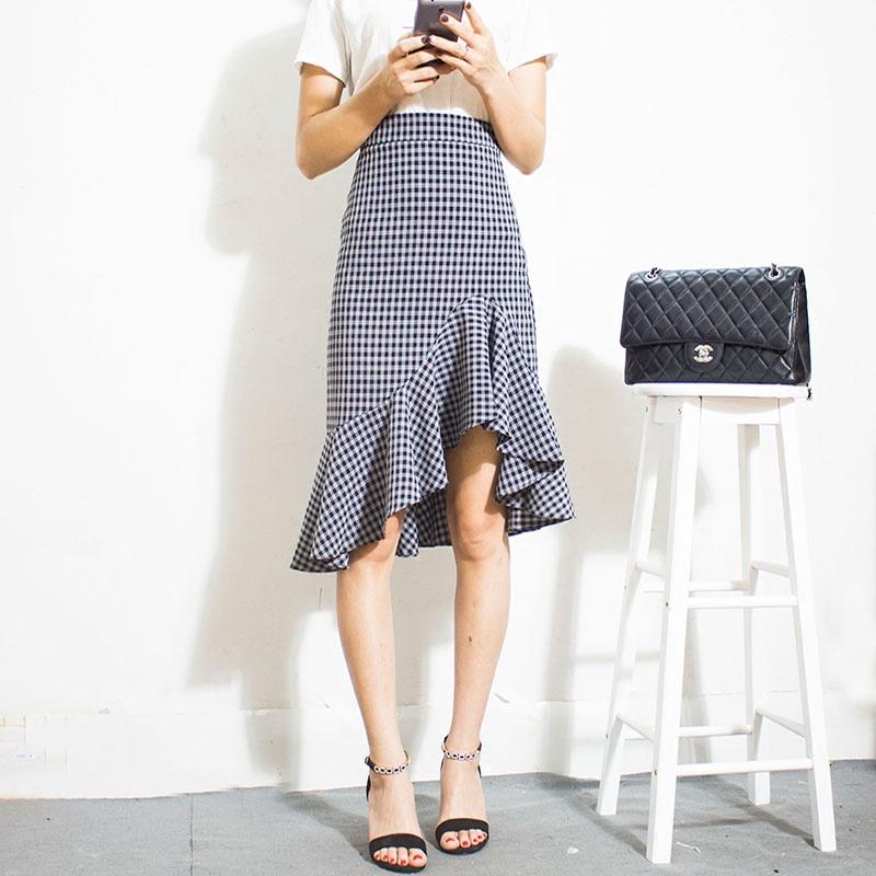 长款格子半裙