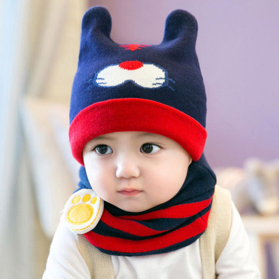 冬季婴儿帽6-12个月针织毛线套头帽儿童宝宝帽子男女童护耳帽韩版