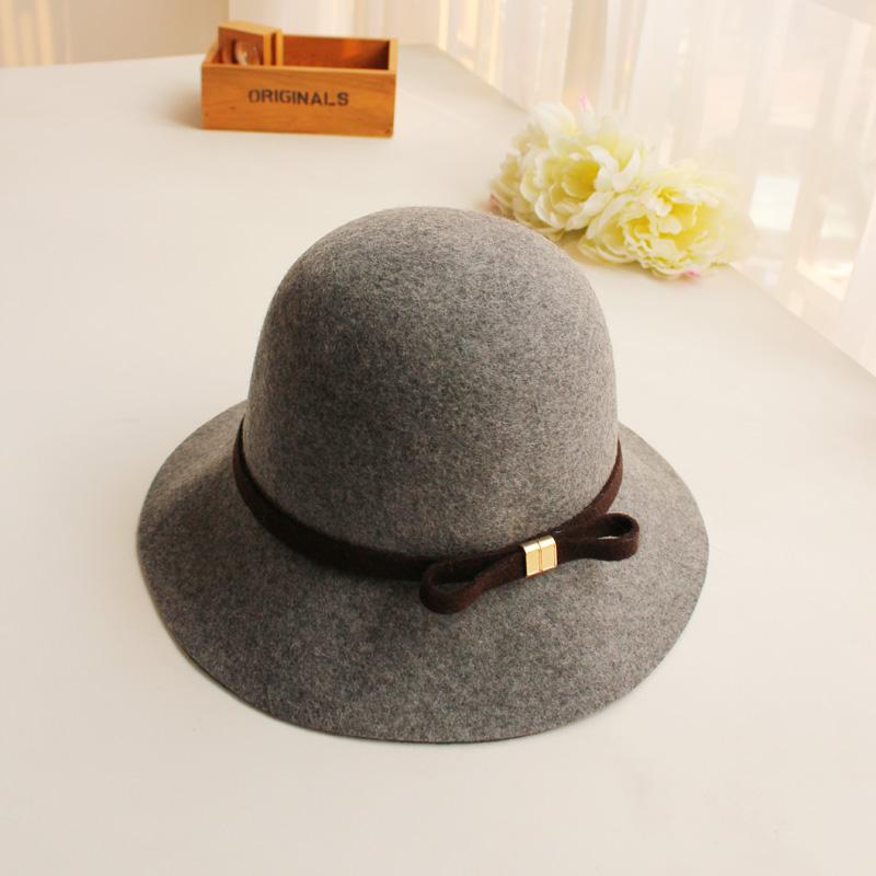 日本复古圆顶宽檐羊毛呢礼帽子秋冬季女士出游渔夫帽百搭盆帽毡帽5元优惠券