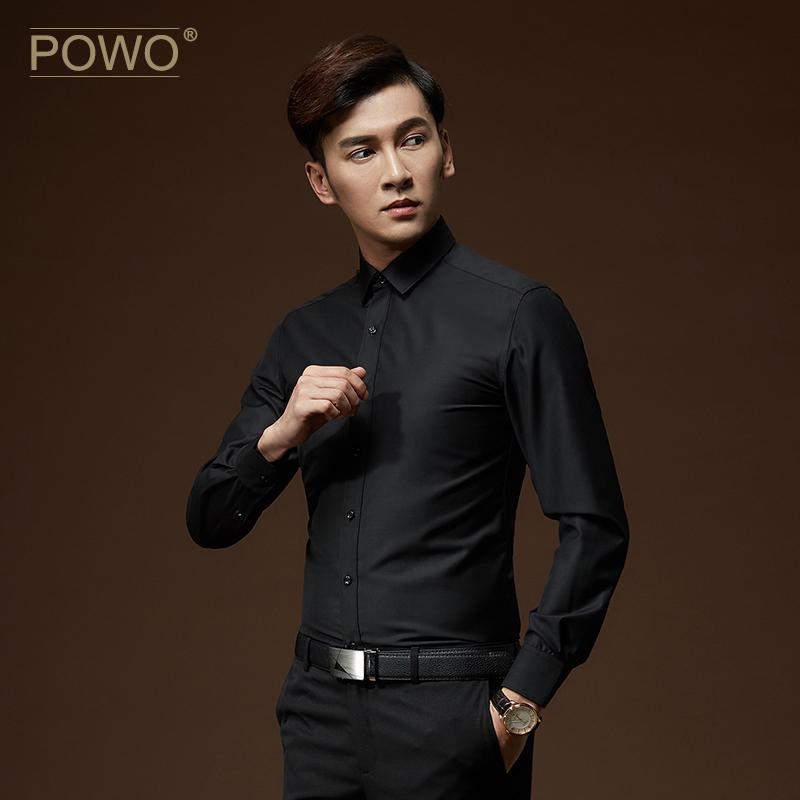 POWO长袖衬衫衣服无纹黑色衫衬衣