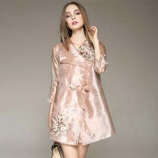 欧式2017春季新款高档品牌女装两件套刺绣欧根纱风衣外套式连衣裙