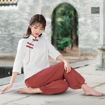 改良棉麻茶服女禅意茶艺师茶道服居士禅修打坐中国风唐装太极瑜伽