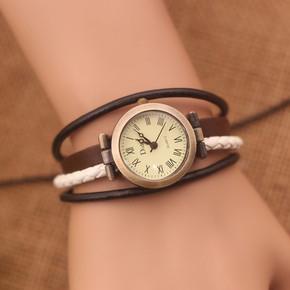 中学学生手表女韩国潮流手链表复古缠绕手绳表韩版小清新缠绕多层