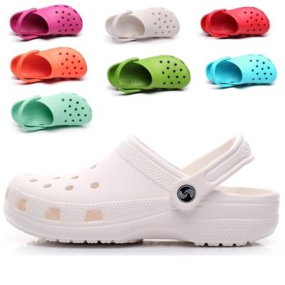 新款夏季洞洞鞋女凉拖鞋白色护士鞋40大码包头沙滩凉鞋41-42-43码