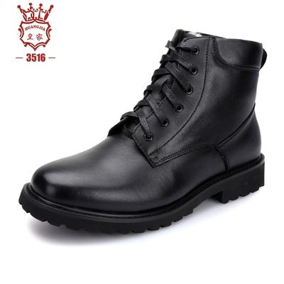 3516皇家正品冬季新款头层牛皮户外特战男靴保暖羊毛靴棉靴高帮鞋
