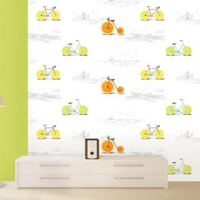 韩国正品墙纸代购 卡通童趣柠檬自行车 儿童卧室书房背景墙壁纸