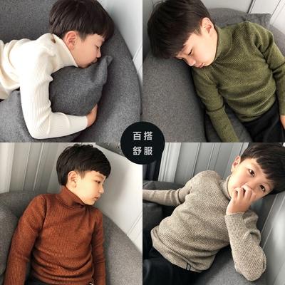 TG潼哥2017秋冬款韩版中大童装 男童打底衫纯棉儿童高领毛衣