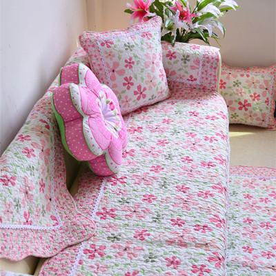 韩式田园 全棉绗缝沙发垫 布艺防滑坐垫贵妃 飘窗垫沙发巾沙发罩打折促销