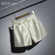 2009 Spring and Summer New Kind of Women's Shorts Commuter Broad-legged Pants with Butterfly Knot and Bright Silk Showing Slim, Middle-waist and High-waist A-shaped Hot Pants