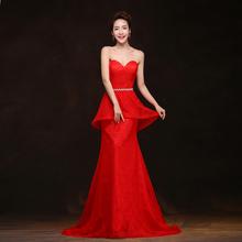 长款 红色宴会韩版 婚礼结婚修身 婚纱礼服新娘敬酒服晚礼服2014新款
