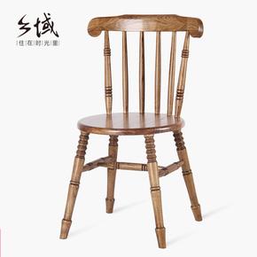 复古实木餐椅美式简约实木椅子家用咖啡厅饭店酒店餐椅休闲靠背椅