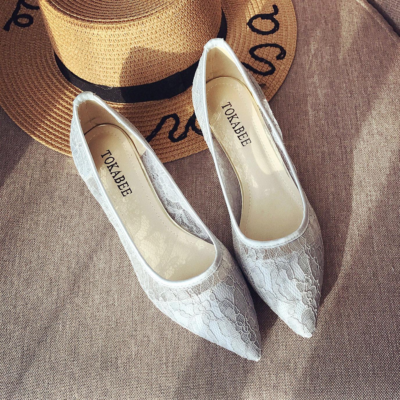 低跟单鞋女平底尖头女鞋夏2017新款韩版百搭浅口瓢鞋透气蕾丝大码