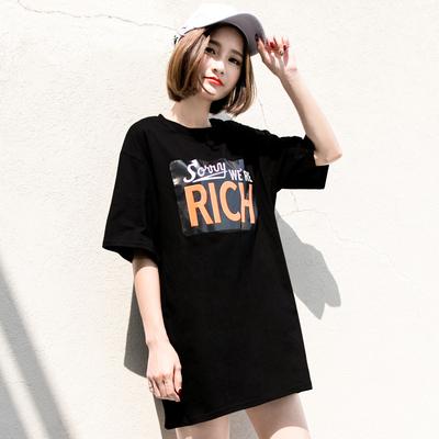 孜索2018春夏女装韩版个性字母潮款中长款宽松T恤女短袖纯棉半袖