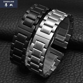黑色金属不锈钢手表带男女款 实心精钢手表链蝴蝶扣18|20|22|23mm