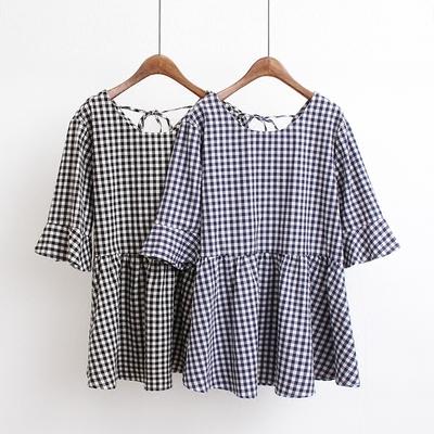 夏季新品超大码女装200斤胖mm韩版宽松显瘦格子上衣短袖娃娃衬衫