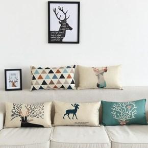靠枕靠垫腰枕长方形大号含芯客厅全棉家用套子小田园沙发抱枕