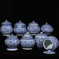 景德镇陶瓷器青花密封罐中式客厅糖果罐家居储物罐盖罐厨房摆件