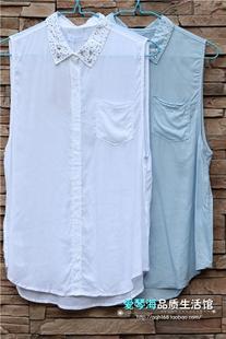 特价韩国ZENEROE正品 高品质爽身薄棉衣领镶钻宽松女无袖马甲衬衫