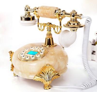 顶爷玉石时尚创意电话机仿古欧式田园复古电话机家用办公座机电话