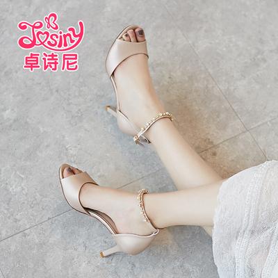 卓诗尼2018夏季天新款细高跟潮韩版百搭时尚水钻一字扣女士凉鞋子