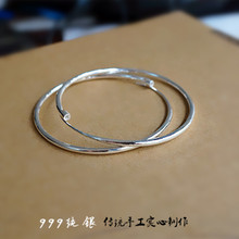 Original solid handmade 999 Sterling Silver big ear ring, exaggerated silver earring, female Korean personality fashion anti allergy