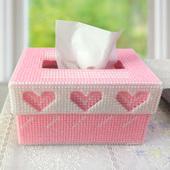 十字绣毛线绣抽纸 盒纸巾盒419彩色爱心DIY客厅卧室汽车新品手工