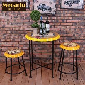 创意复古咖啡厅桌椅西餐厅奶茶甜品冷饮店酒吧洽谈接待组合椅子凳