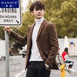 冬季羊毛呢子大衣男士妮子外套中长款韩版修身青年加厚短款风衣潮