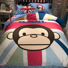 Cartoon cotton children three or four sets of big mouth ESAL monkey cotton sheet Quilt Set lovely spring and autumn bedding
