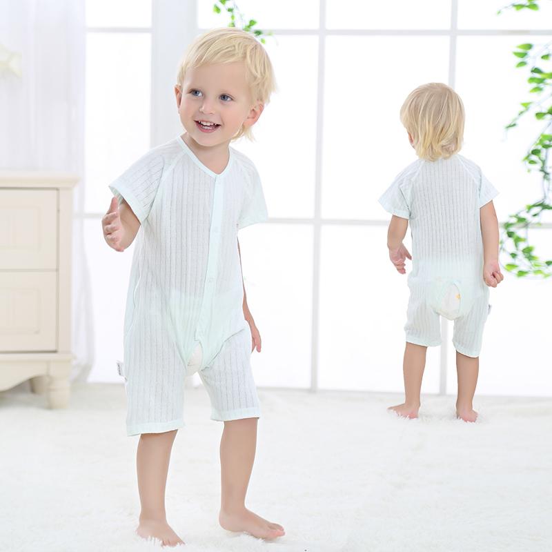 婴儿连体衣短袖纯棉男女宝宝夏装哈衣薄款新生儿睡衣服夏季薄款