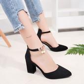高跟鞋 子韩版 百搭粗跟鞋 学生包头女士罗马凉鞋 女鞋 女春季2018新款