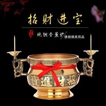 纯铜烛台香炉套装摆件中式复古婚庆拜神祭祀蜡烛台供佛教佛堂用品